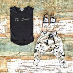 Toddler Boys Clothes ~ Sweet Child of Mine free spirit muscle tee, NUNUNU splash baggy pants & Converse baby Chucks [shop link below]  www.tinystyle.com.au