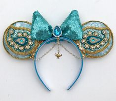 Jasmine Inspired Minnie Mickey Mouse Ears Headband with Disney Headbands, Mickey Mouse Ears Headband, Ear Headbands, Disney Minnie Mouse Ears, Diy Disney Ears, Mini Mouse Ears, Disney Diy Crafts, Disney Inspired, Disney Outfits