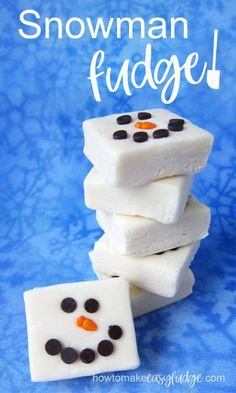 Stay inside where it's warm and cozy and enjoy building this snowman fudge to share with family and friends. Each little square of easy-to-make white . Christmas Fudge, Christmas Sweets, Christmas Cooking, Christmas Candy, Christmas Goodies, Christmas Crafts, Christmas Decorations, Xmas, Fudge Recipes