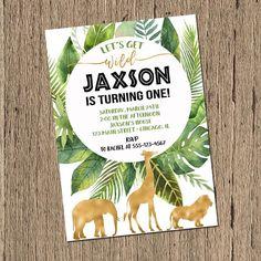 Safari Birthday Invitation, Jungle Birthday Invitation, Boy first 1st Birthday, black and gold, party animals, Wild One printed printable
