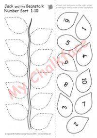 Jack and the Beanstalk Number Sort 1 to 10 (Numeracy) - Click Image to Close Seeds Preschool, Fall Preschool Activities, Eyfs Activities, Preschool Classroom, Preschool Learning, Preschool Crafts, Teaching Kids, Traditional Tales, Traditional Stories