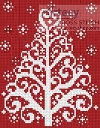 Christmas Tree Card cross stitch pattern.