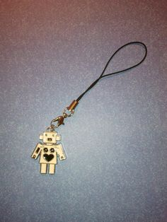 White Robot Cell Phone Charm/Zipper Pull by UniqueLabors on Etsy, $5.00