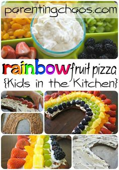 Fresh fruit and cream cheese yogurt dip top a cinnamon roll rainbow-shaped crust for a pretty and colorful Rainbow Fruit Pizza.