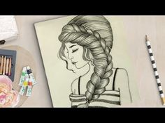 How to draw a girl with beautiful hairstyle Pencil Sketches Of Girls, Girl Drawing Sketches, Art Drawings Sketches Simple, Colorful Drawings, Flower Sketches, Portrait Sketches, Realistic Eye Drawing, 3d Art Drawing, Dress Drawing