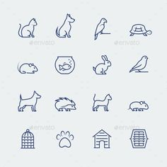 Pets Related Icon Set In Thin Line Style — Photoshop PSD #footprint #kitten • Available here → https://graphicriver.net/item/pets-related-icon-set-in-thin-line-style/11687239?ref=pxcr