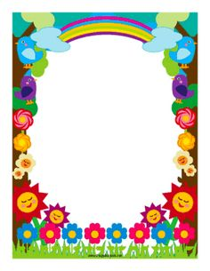 Flowers and rainbows decorate this colorful border. Free to download and print.