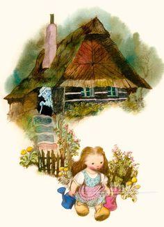 Obraz, rám Květuška nese konvičku - Jiří Trnka Winter Fairy, Animation Film, Book Illustration, Fairy Tales, Posters, Cartoon, Drawings, Artist, Painting