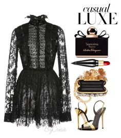 """Untitled #632"" by crisa-gloria-eduardo ❤ liked on Polyvore featuring Elie Saab, Giuseppe Zanotti, Alexander McQueen, Salvatore Ferragamo and Christian Louboutin"