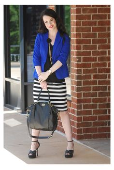 W wearing her stripes and bright blue!