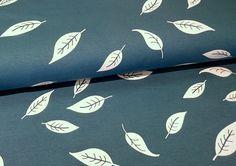 Stoff Blumen - Interlock - Blätter - petrol - Jersey - Kenny - ein Designerstück…