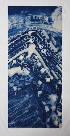 Constant Upheaval, a cyanotype by Australian artist Wendy Catling.