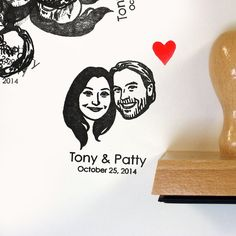 Self inking stamp / custom couple portrait / for wedding save the date couple face stamp etc