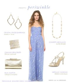 A periwinkle gown as a wedding guest dress, bridesmaid dress, or for a formal or beach formal spring or summer wedding.