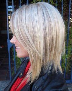 Slightly A-Lined Long Bob Haircut + Lowlights