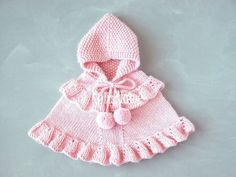 Do it yourself and Crafts Crochet Baby Jacket, Crochet Hats, Pull Rose, Knitted Bunnies, Baby Girl Patterns, Hooded Poncho, Yarn Tail, Knitted Romper, Baby Sweaters