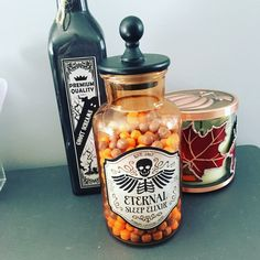 Cute potion jars from Target. I filled the one with sweettarts for a cute Halloween decoration.