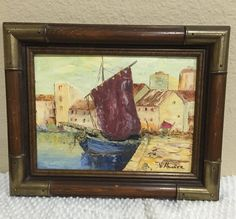 FRAMED OIL ON CANVAS PAINTING A MEDITERRANEAN FISHING VILLAGE/BOATS Mediterranean Seascape Village and fishing boat with beautiful houses in the