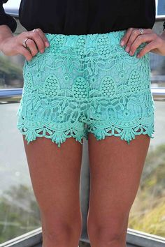 Vintage Inspired Teal Lace Mini Shorts with Elastic Waist