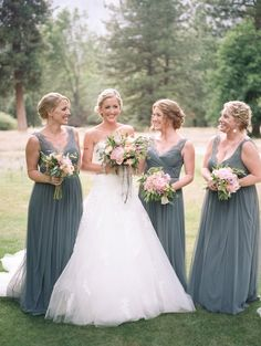 bridesmaids in grey maxi dresses | Fleur Dress in pewter from BHLDN | image via: anna delores