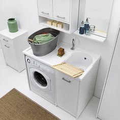 Excellent simple ideas for your inspiration Condo Bathroom, Laundry Room Bathroom, Laundry Room Storage, Laundry Room Design, Bathroom Design Small, Space Saving Furniture, Home Decor Furniture, Pet Station, Home Entrance Decor