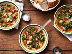 Recipe of the Day: Giada's Winter Minestrone Giada's warming minestrone soup is a weeknight dream. In addition to using whole cannellini beans, simmering pureed beans with beef broth brings a rich creaminess to the soup. Adding a frozen Parmesan rind to the broth lends a salty, buttery flavor to the soup.