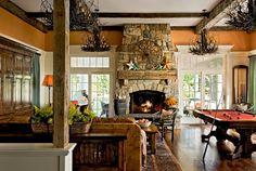 rustic living room/den