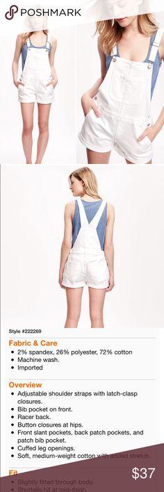 White Denim Shortalls Super cute summer style! NWT White Denim Shortalls. Product info in photo 3. Size Small. Old Navy Shorts Jean Shorts