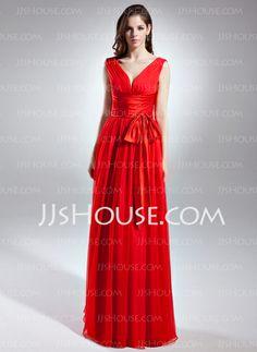 Evening Dresses - $124.99 - A-Line/Princess V-neck Floor-Length Chiffon Charmeuse Evening Dress With Ruffle (017015642) http://jjshouse.com/A-Line-Princess-V-Neck-Floor-Length-Chiffon-Charmeuse-Evening-Dress-With-Ruffle-017015642-g15642