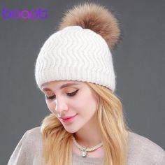 BOAPT Raccoon Fur Winter Double-deck Knitted Stripes Cashmere Wool Skullies Beanies Women Hat Winter Caps Female Pompon Headgear