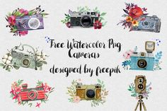 DLOLLEYS HELP: Free Png Watercolor Cameras