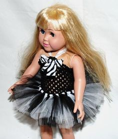 2Piece Zebra Tutu Outfit for 18 and 15 Dolls by KenziesTreasures