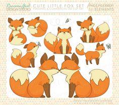 Mignon petit renard Clip Art ensemble par RaccoonGirlDesign