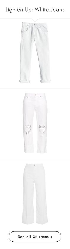 """""""Lighten Up: White Jeans"""" by polyvore-editorial ❤ liked on Polyvore featuring whitejeans, jeans, pants, bottoms, denim, big crush, ripped jeans, slim boyfriend jeans, destructed boyfriend jeans and white distressed boyfriend jeans"""