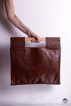LESS is BAG Brown BIG Deep brown leather handbag by maisondressage