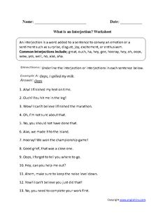 Worksheets Interjection Worksheets interjections worksheet circling and writing part 1 intermediate these worksheets are great for working with use the beginner i