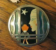 Vtg 1920's Woolworth New York PARIS KARESS Enamel Lady Flapper Compact Face Rare
