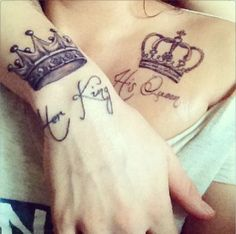 Her King His Queen - Creative Couple Tattoos. #Tattoo #Inked #WomenTriangle