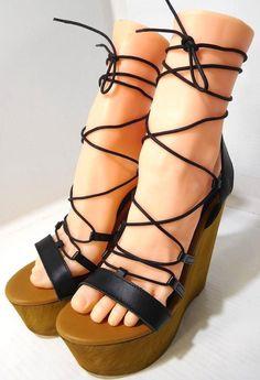 633f2ad414f Steve Madden Women s Sunset Black Leather Wedge Sandal US 8.5 NEW Made In  Italy1  SteveMadden  Sandals