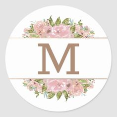 Alluring Rose Vintage Dusty Pink Monogram Wedding Classic Round Sticker - spring gifts beautiful diy spring time new year Circle Monogram, Monogram Initials, Country Garden Weddings, Baptism Party, Elegant Flowers, Rose Gold Foil, Love Wallpaper, Monogram Wedding, Rose Wedding