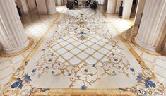 Marble Rugs combine stone medallions, marble borders and marble accents to create colorful whole-room floor designs.