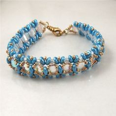 AquaGold and White Hand Beadwoven bracelet by ChainedByLightness