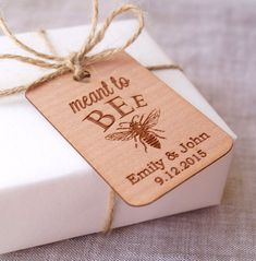 Meant to Bee wedding favor tags, honey favor tags, rustic gift tags, personalized wedding favor tags.  This listing is for a set of 25 laser