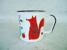Vintage Finel Fox and Mouse Animal Enamel Cup  by SwirlingOrange11, $70.00