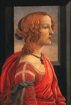 Simonetta  Sandro Botticelli -    Italian Renaissance Painting. Look at the hairstyle and clothing