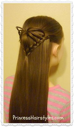 Half up 3d heart hairstyle, Valentines Day