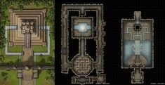 Ziggurat of Cihua - A Three Level Jungle Temple with Puzzles Traps! Jungle Temple, Cartographers Guild, Pen And Paper Games, Building Map, Map Layout, Map Pictures, Dungeon Maps, Fantasy Map, Map Design