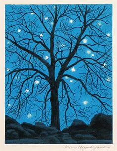"""Higashiyama Kaii """"Seisyou (Song of Silence)"""" Three Colors Blue, Japanese Painting, 2d Art, Japan Art, Japanese Artists, Painting Patterns, Tree Art, Great Artists, Painting & Drawing"""