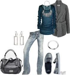 """touch of gray"" by fluffof5 ❤ liked on Polyvore"