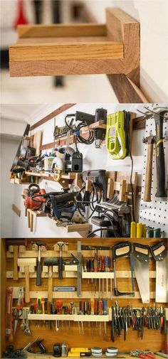 21 great ways to completely organize your workshop or craft room: how to best utilize pegboards, shelving, closet and wall spaces, and much more!